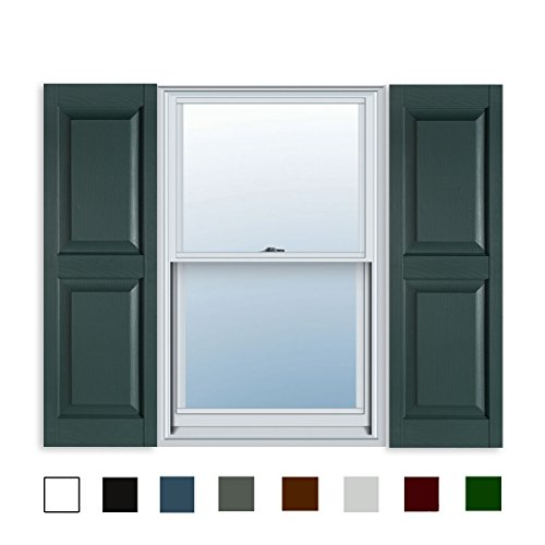 15 Inch x 63 Inch Standard Raised Panel Exterior Vinyl Shutter, Heritage Green (Pair)