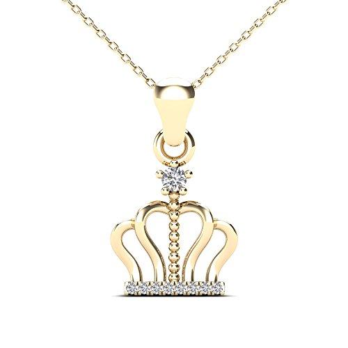 JewelAngel 10k Yellow Gold Diamond Accent Crown Pendant Necklace (H-I, I1-I2) ()