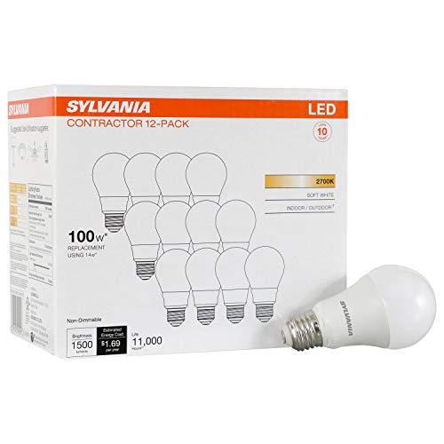 LEDVANCE Sylvania General 40204 14 (100W Watt Equivalent), A19 Non-Dimmable 12 Pack LED Light Bulb, Soft White (2700K)