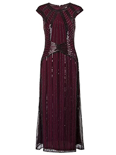 Cap Cap Sleeve Beaded (Vijiv 1920s Long Prom Dresses Cap Sleeve Beaded Sequin Maxi Evening Party Dress, Wine Red, X-Large)