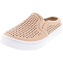 Gold Toe Women's Addy Perforated Fashion Sneaker, Casual Slip On Clog Flat Mule Slides, Memory Foam Shoes