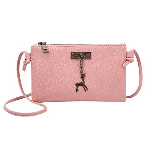 zarupeng-bolsas Crossbody de cuero para mujer Bolsos de hombro de color puro Bolso de mensajero Bolso de la moneda Rosado#1