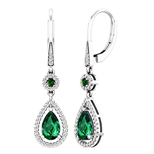Dazzlingrock Collection 14K 8X5 MM Each Lab Created Round & Pear Emerald & Round Diamond Dangling Earrings, White Gold ()