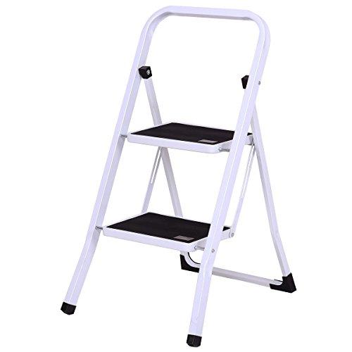 PNPGlobal 2 Step Ladder Folding Steel Step Stool Anti-Slip Heavy Duty with 330Lbs Capacity