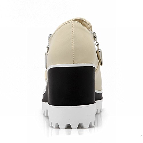 Carolbar Kvinna Multi Dragkedja Mode Populära Charm Plattform Kilklack Skor Beige