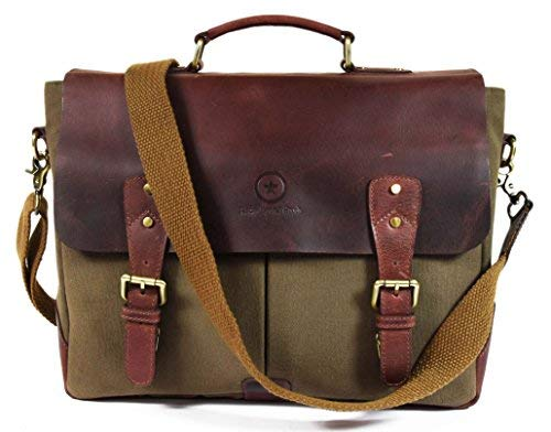 """- 14.5"""" Vintage Handmade Leather Canvas Messenger Bag 