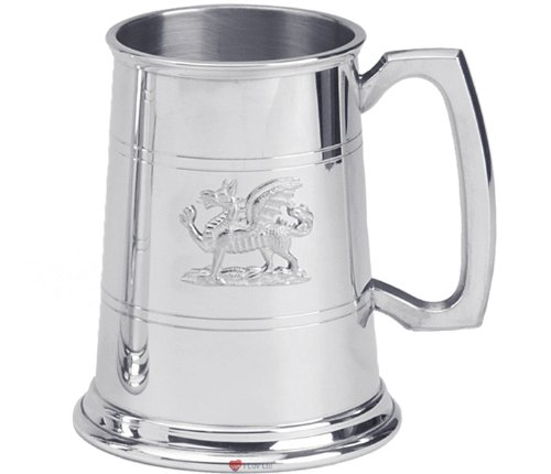 Welsh Dragon 1Pint Pewter Tankard (Silver Welsh Dragon)