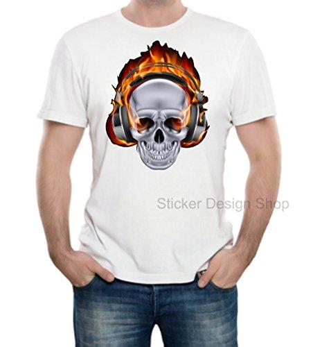 Dj Skull Schädel Totenkopf T-Shirt Druck Unisex Baumwolle Fruit of The Loom Weiß