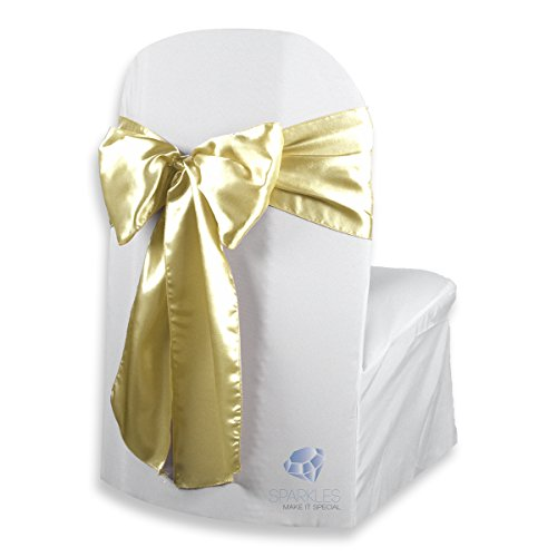 (Sparkles Make It Special 200 pcs Satin Chair Cover Bow Sash - Champagne - Wedding Party Banquet Reception - 28 Colors Available)