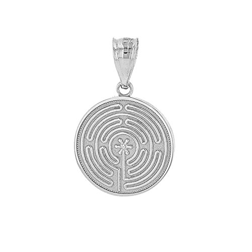 (Dainty 925 Sterling Silver Chartres Meditation Labyrinth Disc Charm Pendant)