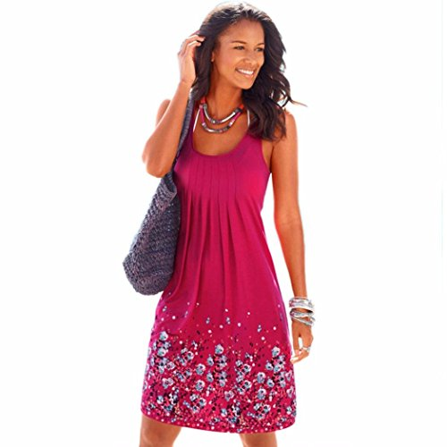 DaySeventh Women Summer Sleeveless Evening Party Beach Mini Dress (L, Hot Pink)