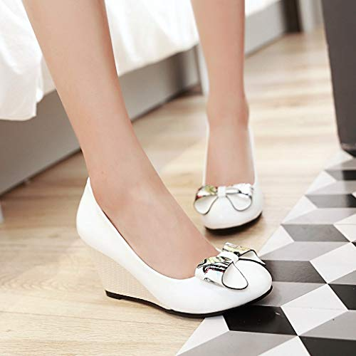 Bows Mouth Single Shoes Large Work Wedges Heels Shallow Yukun Women'S Shoes Shoes White Head Size Autumn Wild Female heels High High Round qxw6O87
