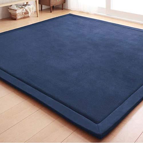 GIY Solid Rectangular Area Rugs Soft Living Room Carpets Coral Fleece Anti-Slip Children Bedroom Rug Home Decor Modern Indoor Outdoor Runners Nursery Rugs Navy Blue 4' X 6.5'