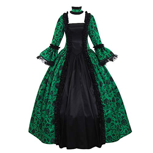 Adult Victorian Wig Lady - 1791's lady Women's Victorian Rococo Dress Inspiration Maiden Costume NQ0032 (XS:Height61-63 Chest32-33 Waist24-25, Green&Black)