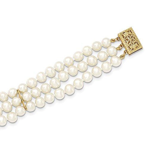 5 Strand Pearl Bracelet - 14K Yellow Gold 5-6mm 3 Strand FW Cultured Pearl Bracelet