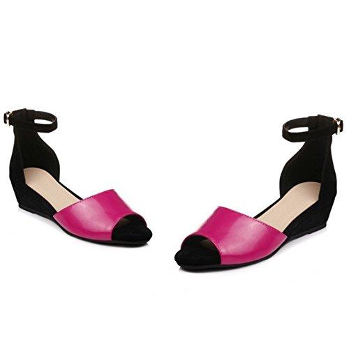 TAOFFEN Mujer Moda Peep Toe Hebilla Correa de Tobillo Tacon de Cuna Verano Sandalias Rosa Rojo