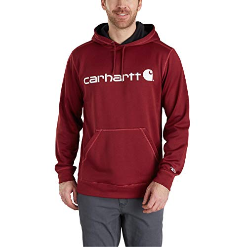 (Carhartt Men's Tall Size Force Extremes Signature Graphic Hooded Sweatshirt, Dark Crimson Heather, Large)