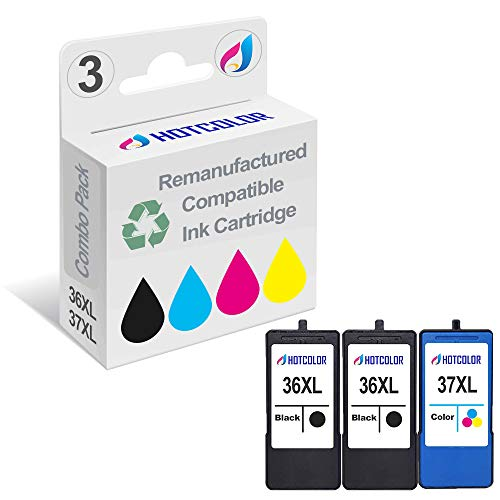 HOTCOLOR 3 Pack for Lexmark 36XL Black Lexmark 37XL Tri-Color Ink Cartridge for Lexmark Z2400 Z2420 X3650 X4650 X5650 X5650es X6650 X6675 Printer (2BK,1CL)
