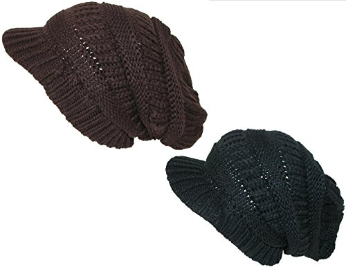 CTM Women's Knit Slouchy Beanie Hat with Visor (Pack of 2), Brown/Black