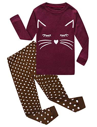 Cat Little Girls Long Sleeve Pajamas Sets 100% Cotton Sleepwears Toddler Kids Pjs Size -
