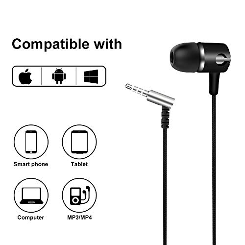 Headphones,in-Ear Earbuds Headsets Heavy Bass Earphones with Microphone Compatible iPhone Samsung Galaxy S9 S9 S8 S8 Note8 iPad and Most Android Phones -3