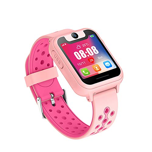(Updated Kids Smart Watches with GPS Tracker Phone Call for Boys Girls Digital Wrist Watch, Sport Smart Watch, Touch Screen Cellphone with Camera Anti-Lost SOS Learning Toy for Kids Gift (Pink))