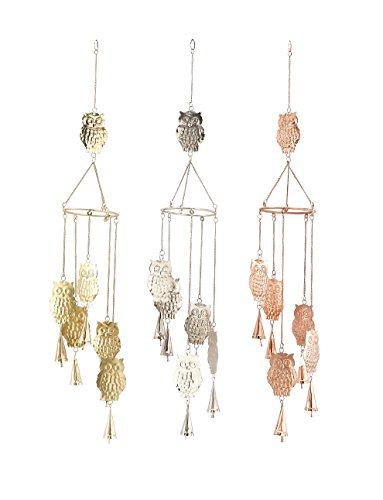 Cheap Deco 79 Antique Colonial 3 Cool Metal Owl Wind Chime, Assorted