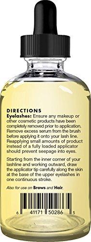 Majestic Pure Castor Oil Eyelash Serum, Pure and Natural, Promotes Natural Eyebrows & Eyelash Growth, Free Set of Mascara Brush and Eyeliner Applicator - 1 fl oz by Majestic Pure (Image #2)