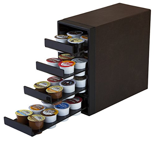 JackCubeDesign 40 K-Cup Holder Organizer Storage Carousel K cup Leather Holder 4 Drawer Dark Brown with Black Acrylic(11.80 x 11.00 x 5.30 inches)-MK138