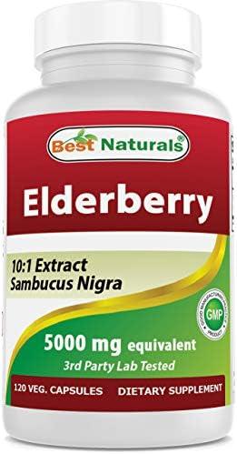 Best Naturals Elderberry Sambucus Nigra 5000mg Equivalent 120 Veg Capsule