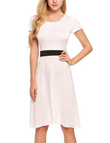 ACEVOG Damen Elegant Patchwork Business Kleid Cocktailkleid Etuikleid 2 in  1 Festlich Kurzarm Strickkleid Abendkleid Weiß 59fb6ed444