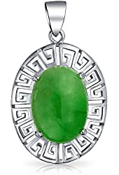 Bling Jewelry Natural Green Jade 925 Sterling Silver Filigree Statement Pendant
