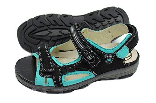 Waldläufer Damen Leder Schuh Sommer Sandalette Blau/Mint 4,5 / 37 Weite H