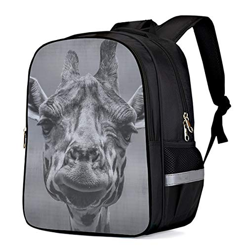 Kid School Backpack Shoulder Book Bag for Teenage Girls Boys,Wild black and white giraffe closeup Schoolbag ChIld Backpacks,16 Inch ()