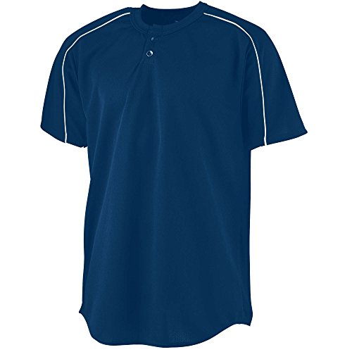 (Augusta Sportswear MEN'S WICKING TWO-BUTTON BASEBALL JERSEY 2XL Navy/White)