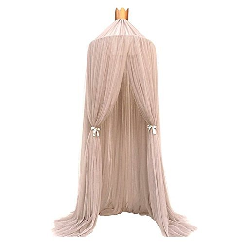 Bed Canopy for Girls/Boys/Baby Games House,Mosquito Net for Bed Kids Playing/Reading, Round Dome Netting Curtains Mosquito Net Bed Canopy Play Tent (Khaki)