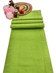 Slub Cotton Table Runner In Lime Green Color With Hemstitched Detailing And  Mitered Corner Finish On Edges 100% Cotton By Linen Clubs Size 16x108Inch