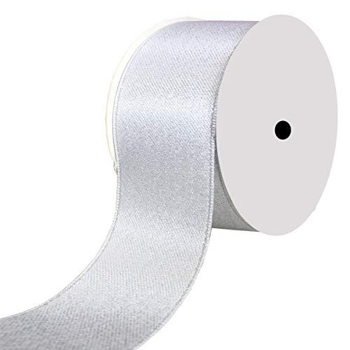 DUOQU 1-1/2 inch Wide Sparkle Satin Ribbon with Silver Glitter 10 Yards - Satin Glitter