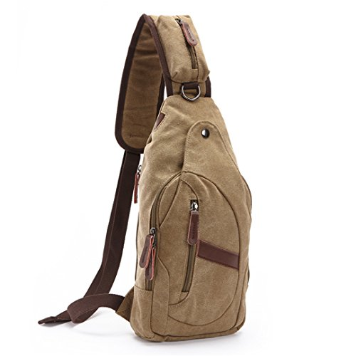 los 38 la Mochila de aire cuerpo del hombres al Satchel Cruz Wewod bolso Bag lona Pecho del de de 19 Hombro recorrido x libre funciones del Marrón H L cm W múltiples ocasional Bolsos x Mochila 8 zqw1aC