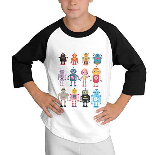 WJGNAA Colorful Cute Robot Youth's O Neck 3/4 Raglan Sleeve Baseball T Shirt Teenage T-Shirt for Boys Girls Black]()