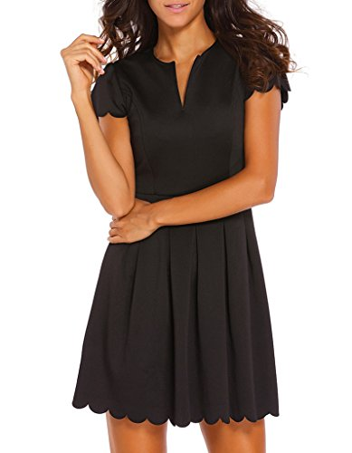 (Sidefeel Women Sweet Scallop Pleated Mini Cocktail Dress XX-Large Black)