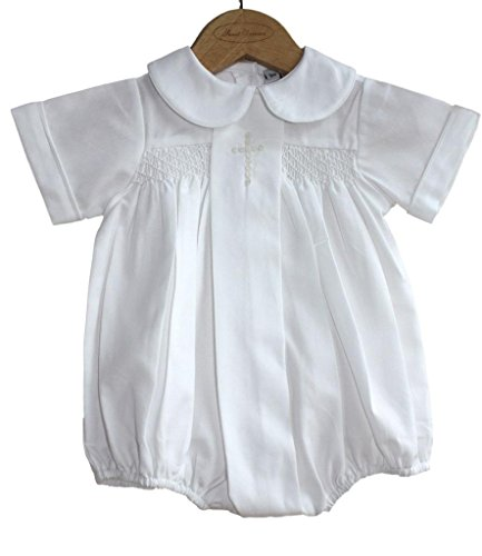 ys Christening Baptism Bubble Set Outfit Smocked Cross White, 6-9 Months ()