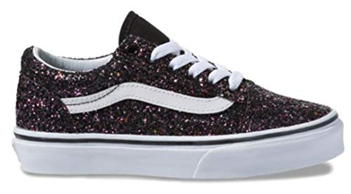 Vans Kids Girl's Old Skool (Little Kid/Big Kid) (Glitter Stars) Black/True White 12 M US Little -