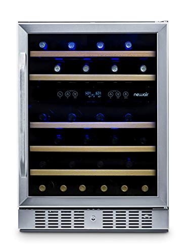 NewAir Built-In Wine Cooler and Refrigerator, Dual Zone 46 Bottle Capcity Fridge with Triple-Layer Tempered Glass Door, AWR-460DB from NewAir