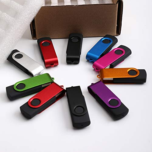 qiguch66 10Pcs 512MB USB Flash Drive,USB Memory Stick, USB Stick, Rotary USB2.0 Flash Drive Pen Data Storage Memory Stick U-Disk ()