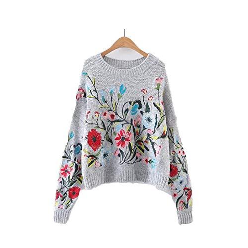 Nouveau pull en tricot brod  la fleur d'automne pour femme (Color : Gray, Size : M) Gray