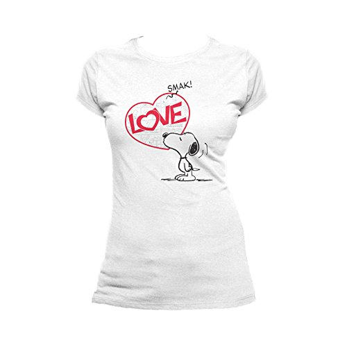 Peanuts Snoopy Comic Love Smak Official Women's T-Shirt (White) (Medium) by Peanuts
