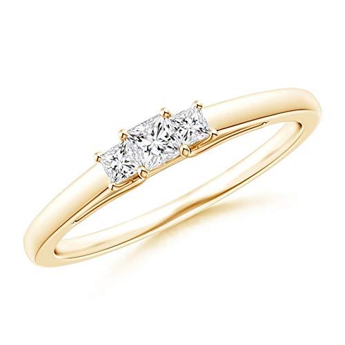Princess-Cut Diamond Trellis Three Stone Ring in 14K Yellow Gold (2.7mm Diamond)