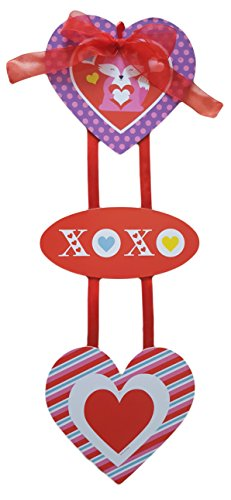Valentine Greetings Critters Ribbon Tiered Door Hanger Sign