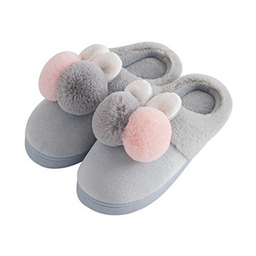 Chaussons Pantoufles de Coton Pur Épais Hiver Maison Mignon Demi-Sac avec des Chaussures Chaudes (Couleur : Pattern 3, Taille : EUR:38-39)